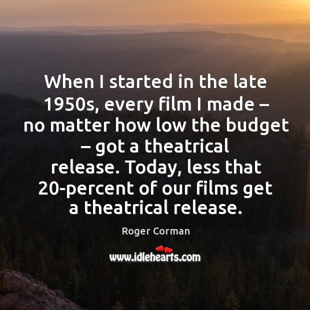 Today, less that 20-percent of our films get a theatrical release. Roger Corman Picture Quote