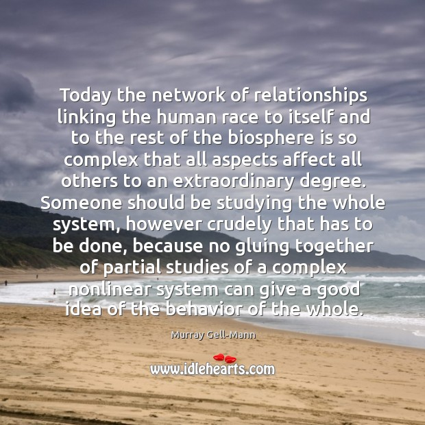 Image, Today the network of relationships linking the human race to itself and to the rest of the biosphere