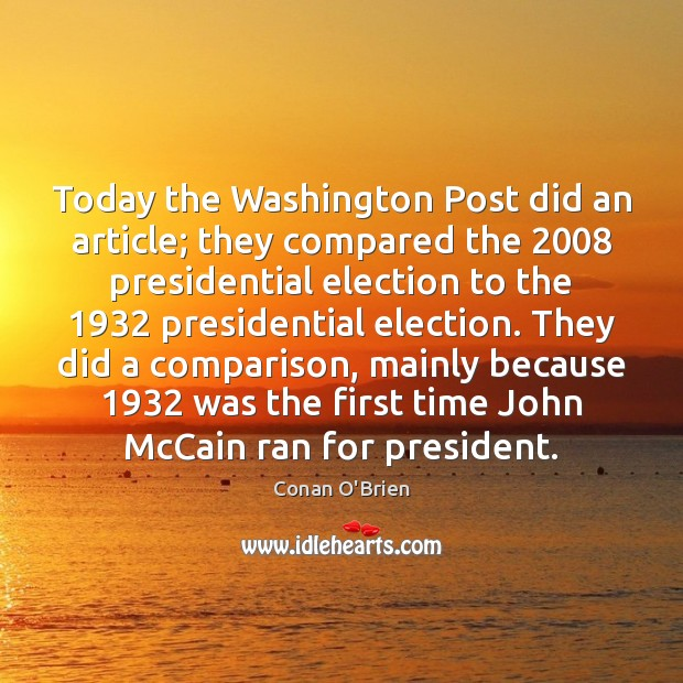 Image, Today the Washington Post did an article; they compared the 2008 presidential election
