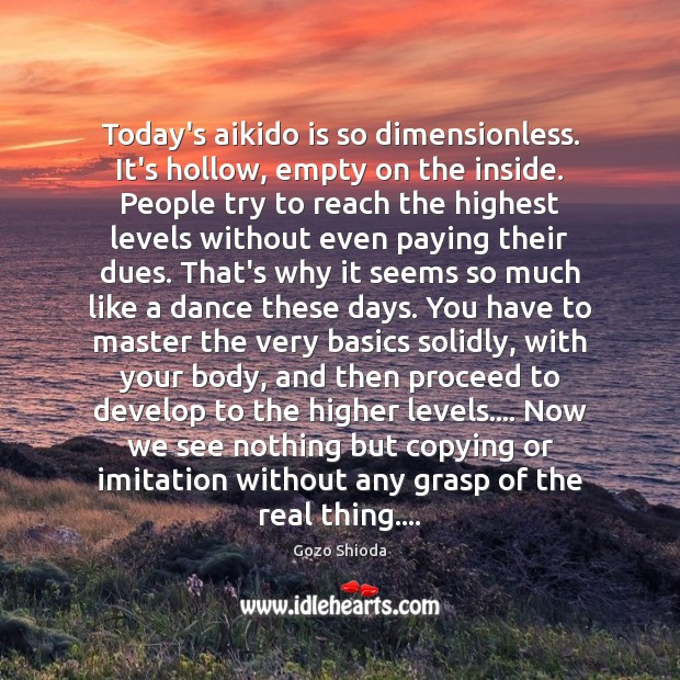 Image, Today's aikido is so dimensionless. It's hollow, empty on the inside. People
