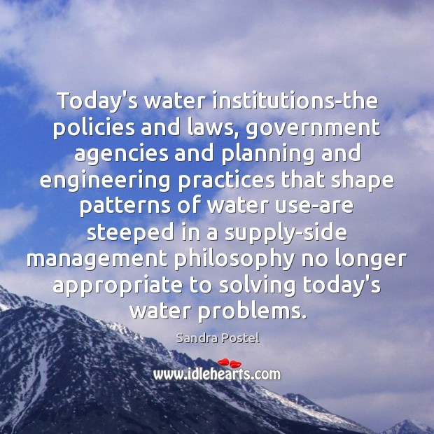 Today's water institutions-the policies and laws, government agencies and planning and engineering Image