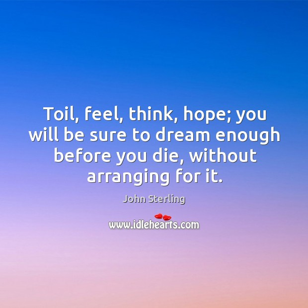 Image, Toil, feel, think, hope; you will be sure to dream enough before you die, without arranging for it.