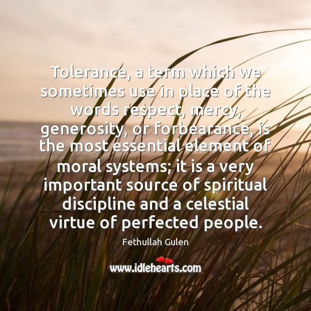 Tolerance, a term which we sometimes use in place of the words Image