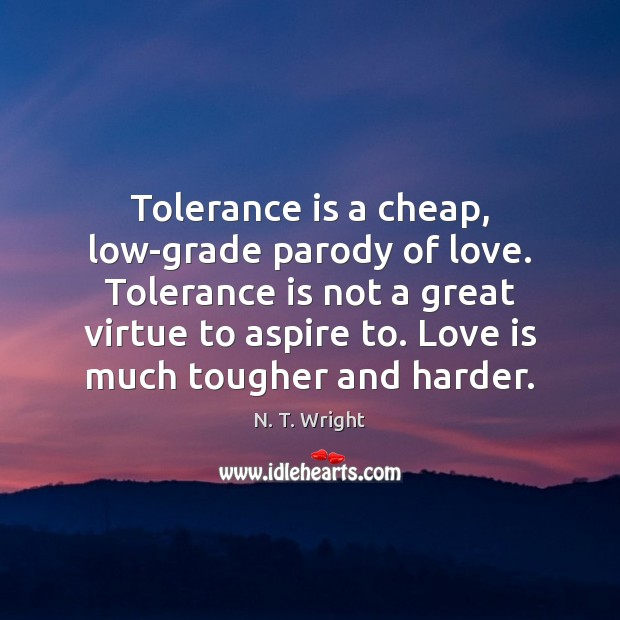 Tolerance is a cheap, low-grade parody of love. Tolerance is not a Tolerance Quotes Image