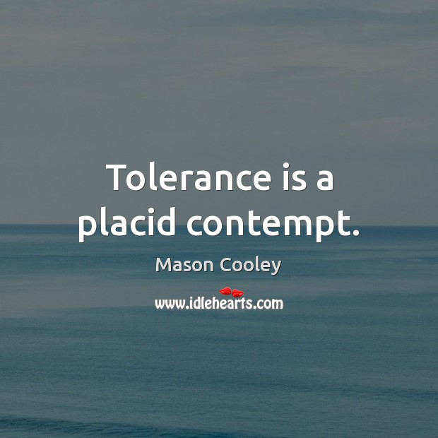 Tolerance is a placid contempt. Tolerance Quotes Image