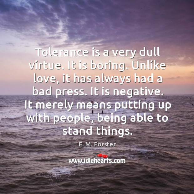 Tolerance is a very dull virtue. It is boring. Unlike love, it has always had a bad press. Image