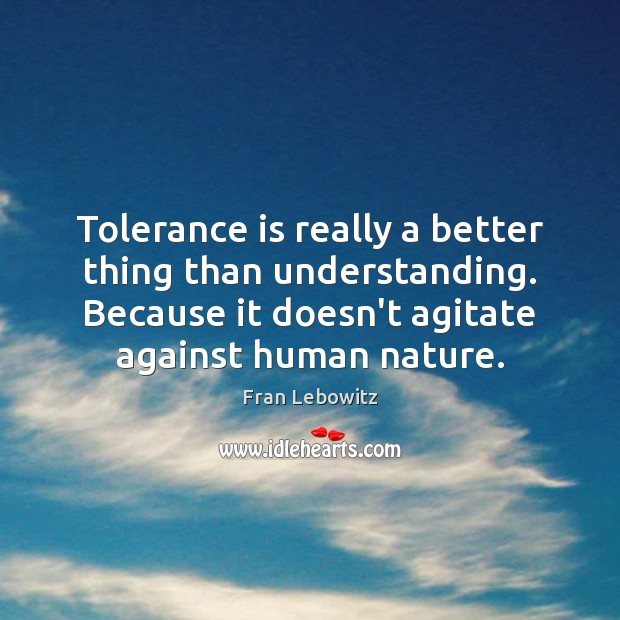 Tolerance is really a better thing than understanding. Because it doesn't agitate Tolerance Quotes Image
