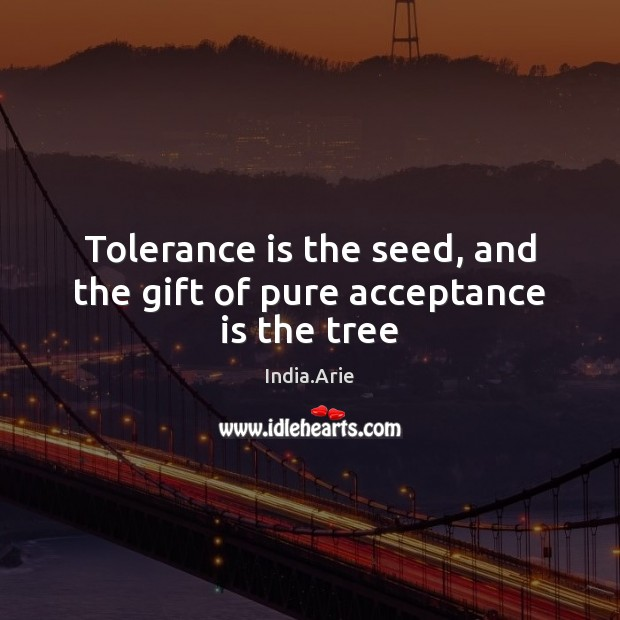 Tolerance is the seed, and the gift of pure acceptance is the tree India.Arie Picture Quote