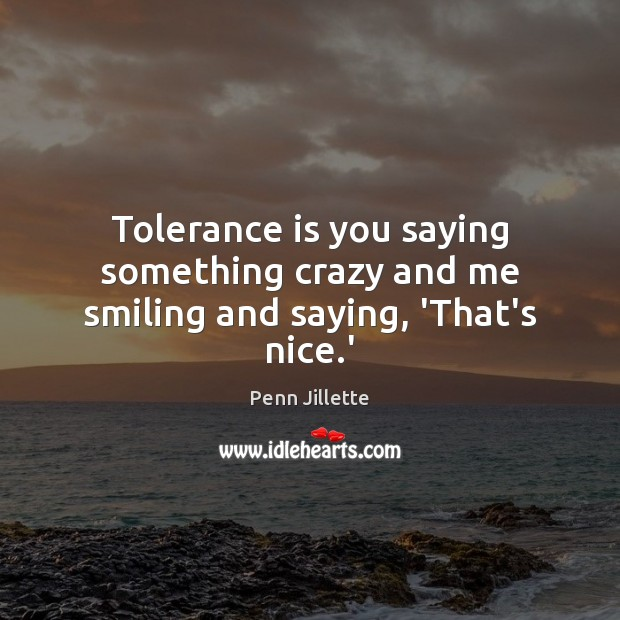 Tolerance is you saying something crazy and me smiling and saying, 'That's nice.' Tolerance Quotes Image