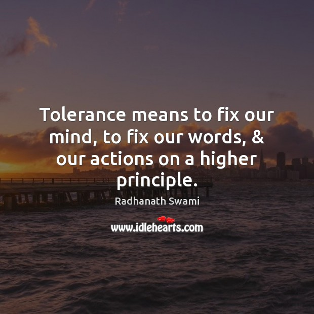 Tolerance means to fix our mind, to fix our words, & our actions on a higher principle. Radhanath Swami Picture Quote
