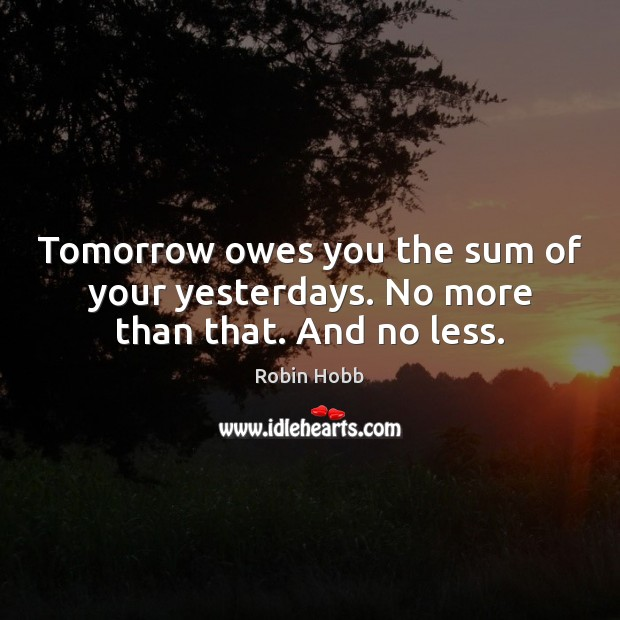 Tomorrow owes you the sum of your yesterdays. No more than that. And no less. Robin Hobb Picture Quote