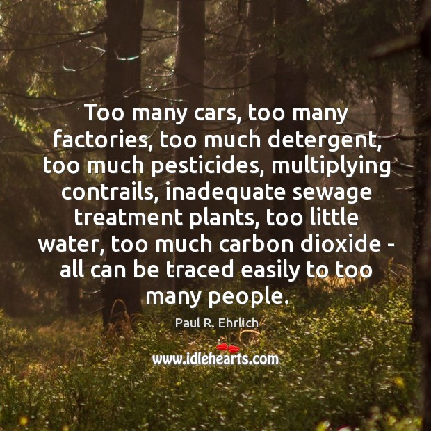 Image, Too many cars, too many factories, too much detergent, too much pesticides,