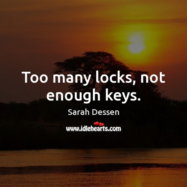 Too many locks, not enough keys. Sarah Dessen Picture Quote