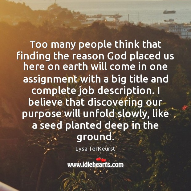 Too many people think that finding the reason God placed us here Lysa TerKeurst Picture Quote