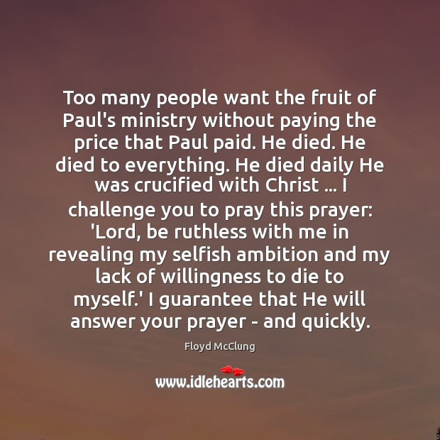 Too many people want the fruit of Paul's ministry without paying the Image