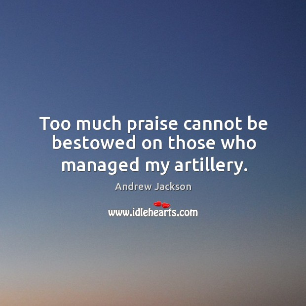 Image, Too much praise cannot be bestowed on those who managed my artillery.