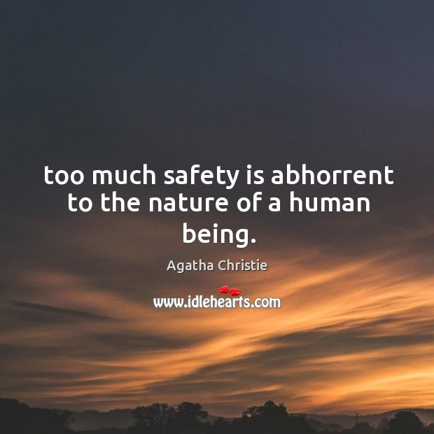 Too much safety is abhorrent to the nature of a human being. Safety Quotes Image