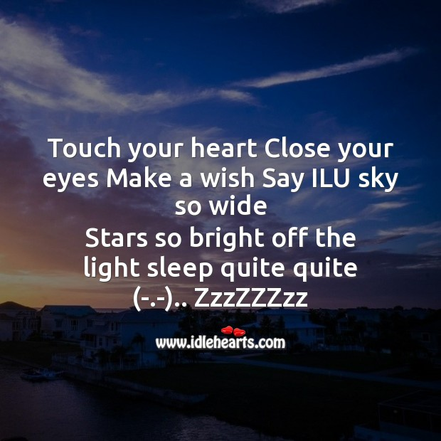 Touch your heart close your eyes Good Night Messages Image