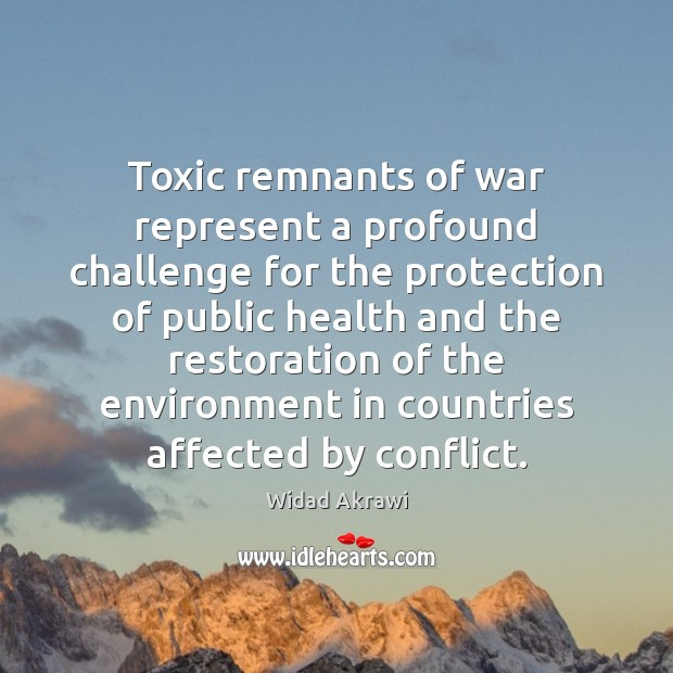 Toxic remnants of war represent a profound challenge for the protection of Widad Akrawi Picture Quote