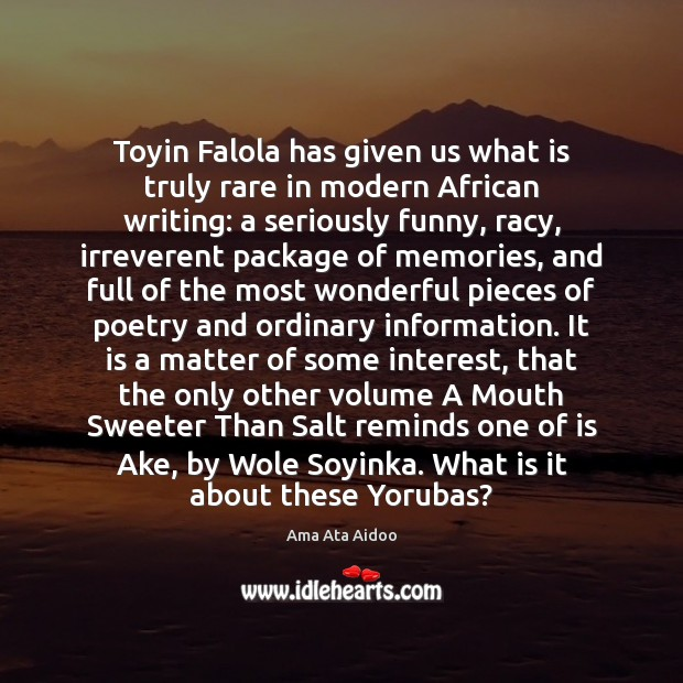Toyin Falola has given us what is truly rare in modern African Image