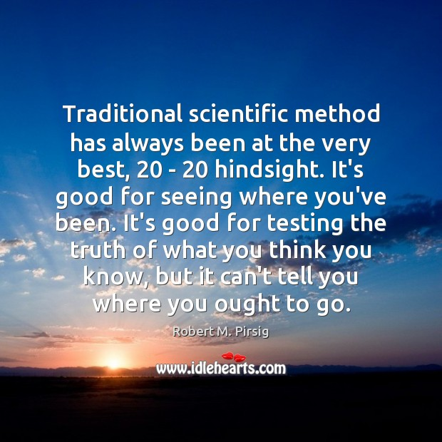 Traditional scientific method has always been at the very best, 20 – 20 hindsight. Image