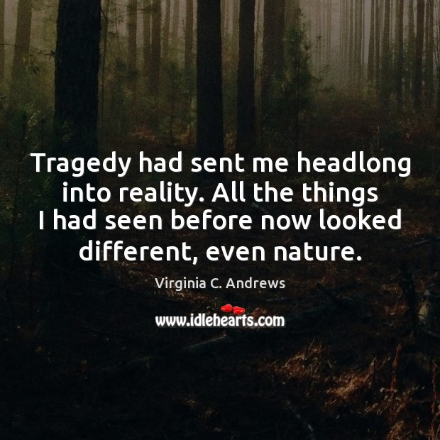 Tragedy had sent me headlong into reality. All the things I had Image