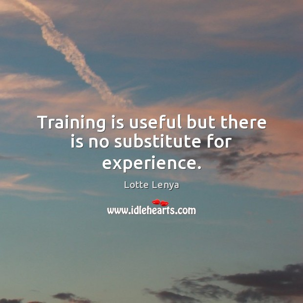 Image, Training is useful but there is no substitute for experience.