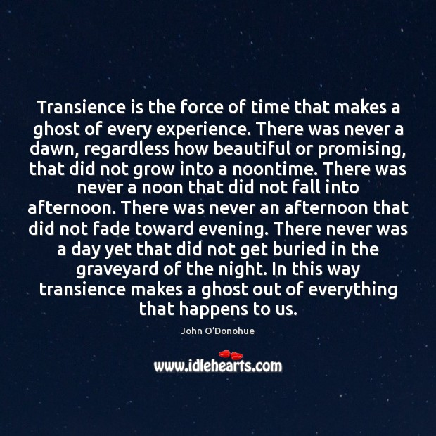 Transience is the force of time that makes a ghost of every John O'Donohue Picture Quote
