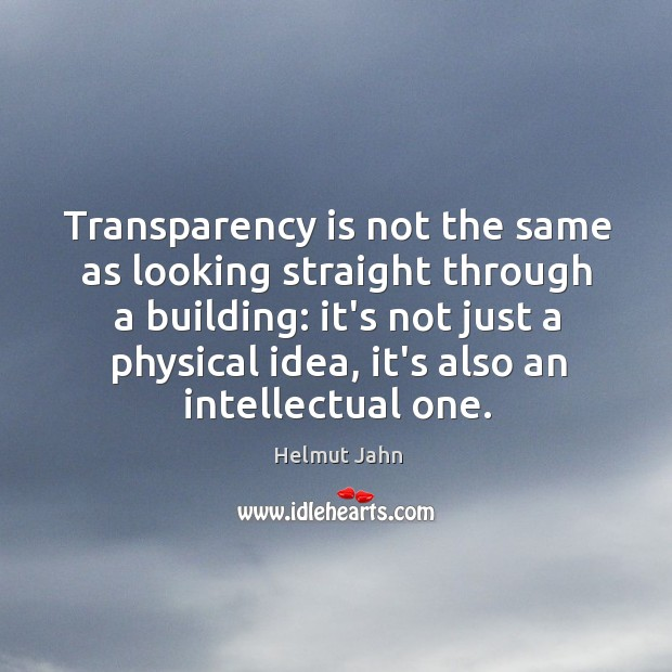 Transparency is not the same as looking straight through a building: it's Image