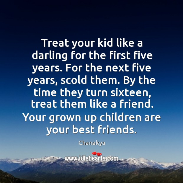 Image, Treat your kid like a darling for the first five years. For the next five years, scold them.