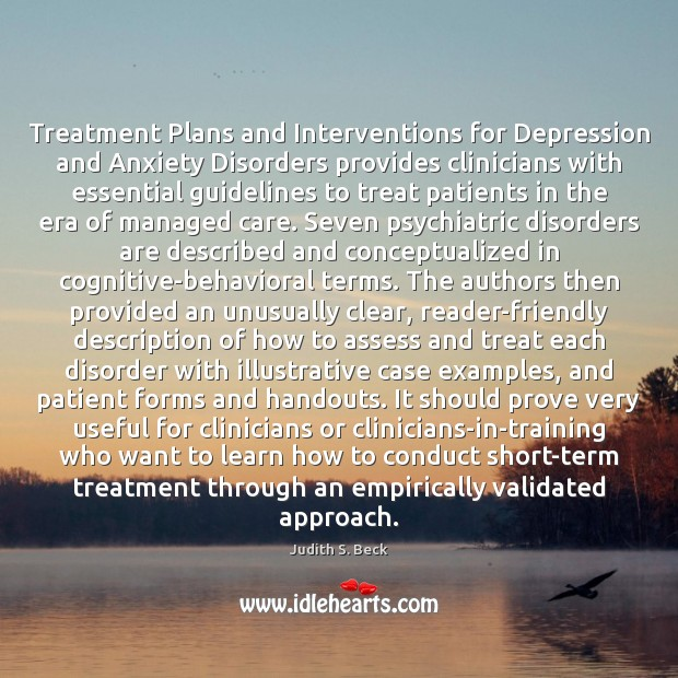 Image, Treatment Plans and Interventions for Depression and Anxiety Disorders provides clinicians with