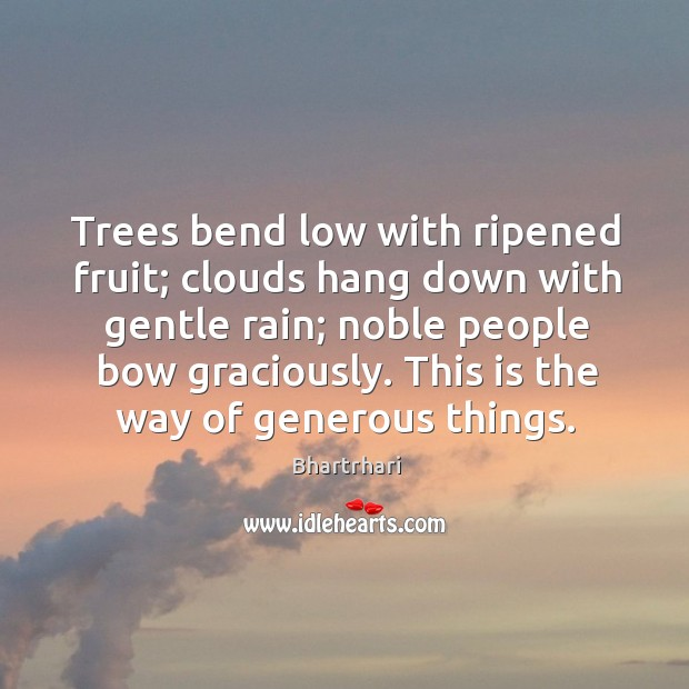 Image, Trees bend low with ripened fruit; clouds hang down with gentle rain;