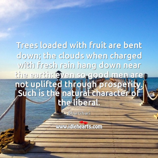 Image, Trees loaded with fruit are bent down; the clouds when charged with