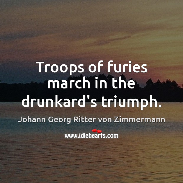 Troops of furies march in the drunkard's triumph. Johann Georg Ritter von Zimmermann Picture Quote