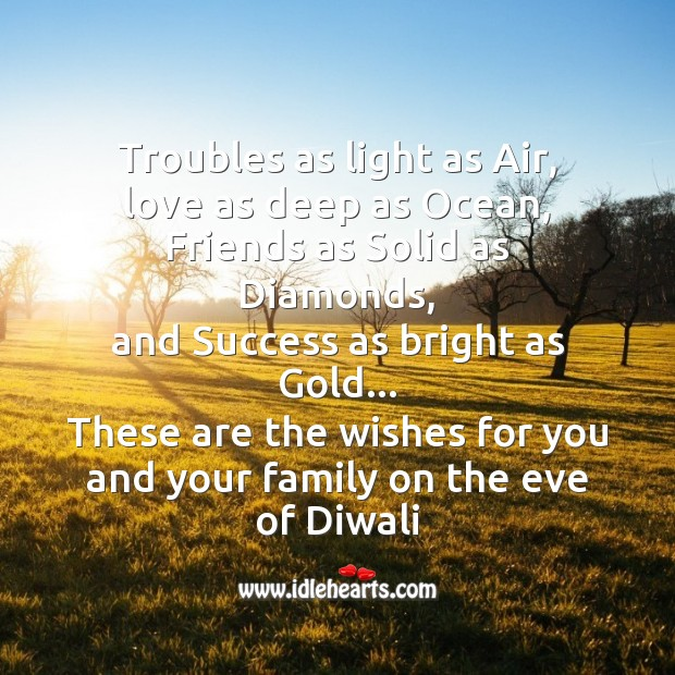 Troubles as light as air Diwali Messages Image