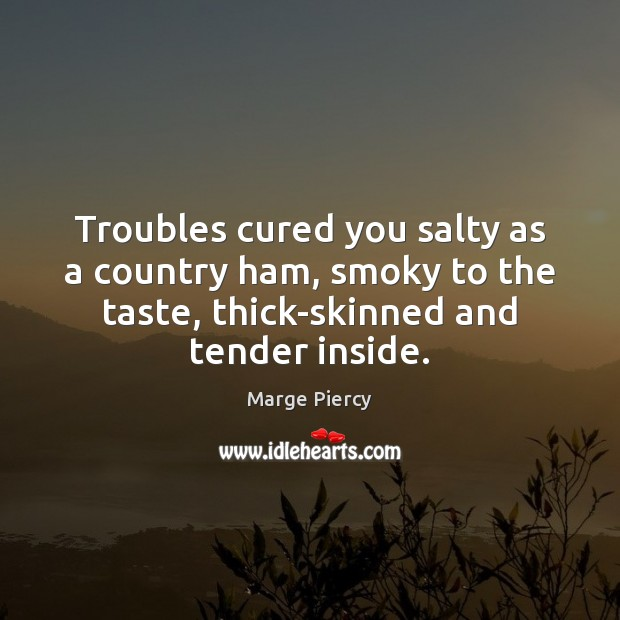 Troubles cured you salty as a country ham, smoky to the taste, Marge Piercy Picture Quote