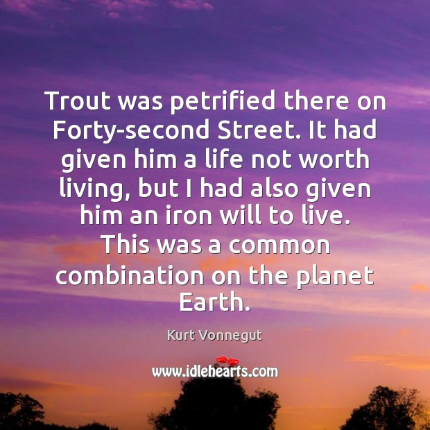 Trout was petrified there on Forty-second Street. It had given him a Kurt Vonnegut Picture Quote