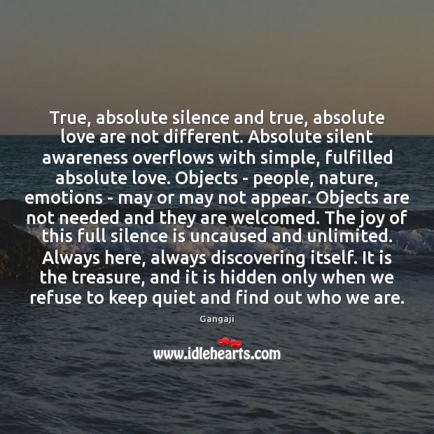 Image, True, absolute silence and true, absolute love are not different. Absolute silent