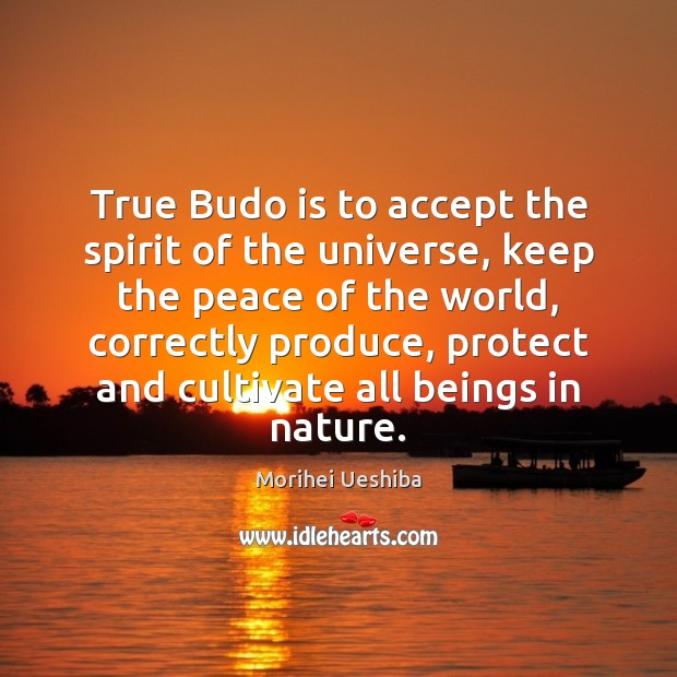 True Budo is to accept the spirit of the universe, keep the Morihei Ueshiba Picture Quote