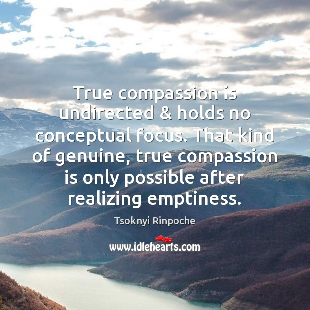 True compassion is undirected & holds no conceptual focus. That kind of genuine, Tsoknyi Rinpoche Picture Quote