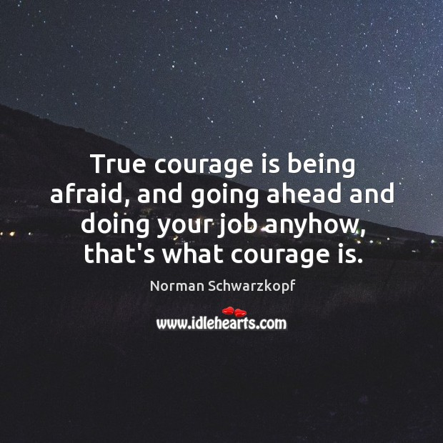 True courage is being afraid, and going ahead and doing your job Image