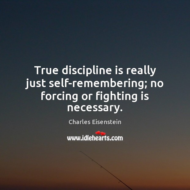 True discipline is really just self-remembering; no forcing or fighting is necessary. Image
