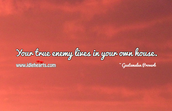 Your true enemy lives in your own house. Guatemalan Proverbs Image