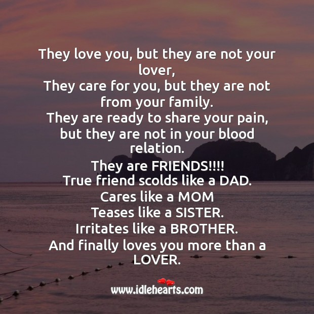 True friend cares like Mom, scolds like a Dad. Friendship Day Messages Image