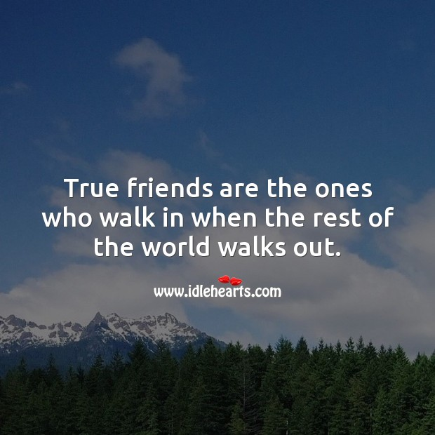 Image, True friends are the ones who walk in when the rest walk out.