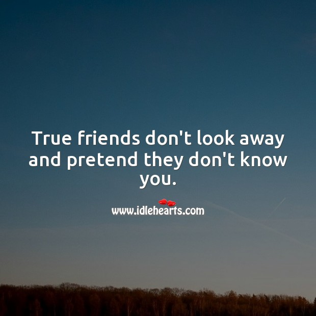 True friends don't look away and pretend they don't know you. Pretend Quotes Image