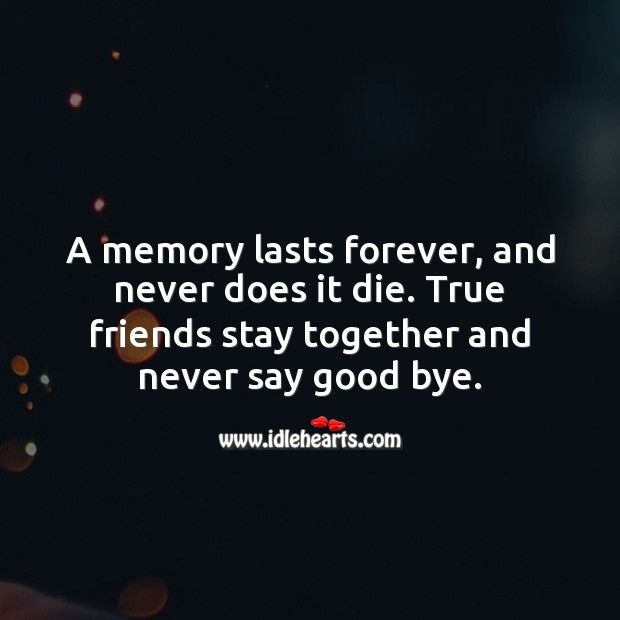 True friends stay together and never say good bye. Friendship Messages Image