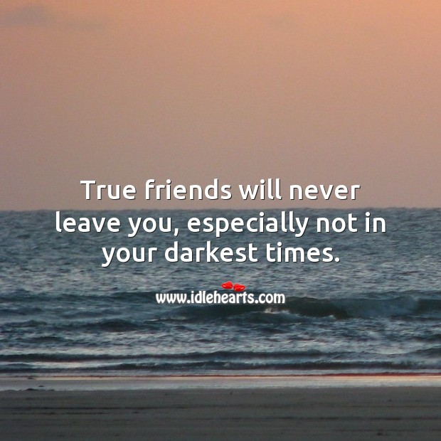 Image, True friends will never leave you, especially not in your darkest times.