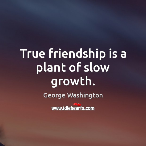 True friendship is a plant of slow growth. George Washington Picture Quote