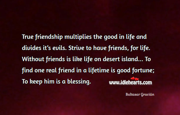 Image, True friendship multiplies the good in life.